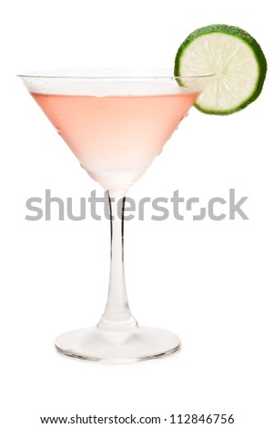 cosmopolitan cocktail isolated on a white background decorated with a lime wheel - stock photo