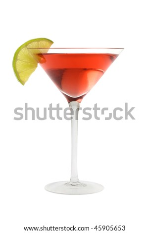 Cosmopolitan mixed drink with lime wedge on a white background - stock photo
