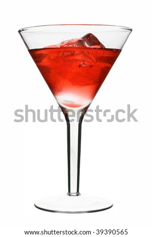 Cosmopolitan - Red Alcoholic Cocktail. Isolated on White Background