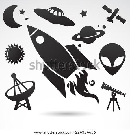 Cosmos - icon collection. - stock photo