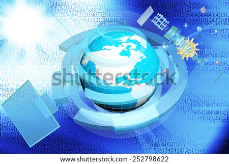 Cosmos technologies.Science research.Internet.Connection - stock photo