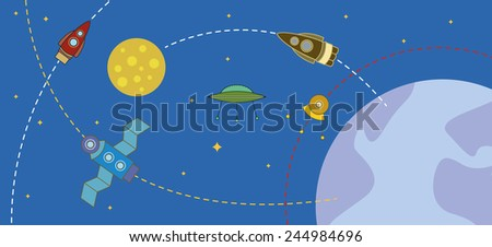 cosmos with rockets and planets - stock photo
