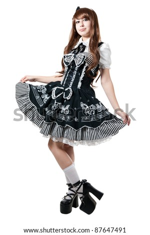 Cosplay girl in black dress isolated on white