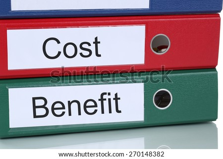 Cost benefit calculation analysis expenses finances in company business concept - stock photo