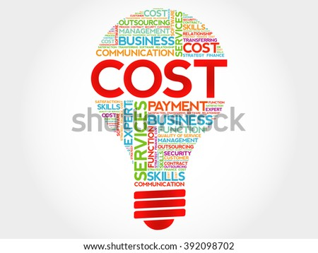 Cost bulb word cloud, business concept - stock photo