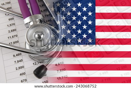 Cost of health care concept, stethoscope and calculator on document and usa flag - stock photo