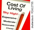 Cost Of Living Expenses Sky High Monitor Showing Increasing Cost - stock photo