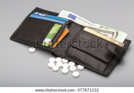 Cost of medicine - stock photo
