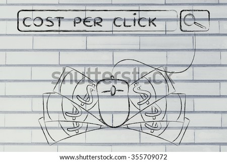 cost per click: web search bar with computer mouse and cash - stock photo