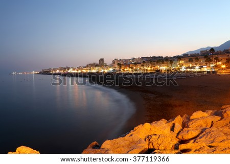 Costa del Sol (Coast of the Sun) at night, Malaga in Andalusia, Spain  - stock photo