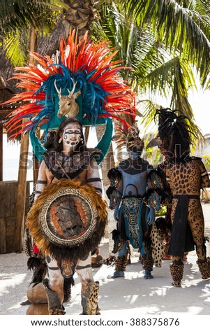 "COSTA MAYA MEXICO JAN 30 2016:Pre-Hispanic Mayan performance called ""Dance of the Owl"" in Costa Maya Cruise ship Terminal & Resorts. Perfect place for visitor since many attractions awaiting."