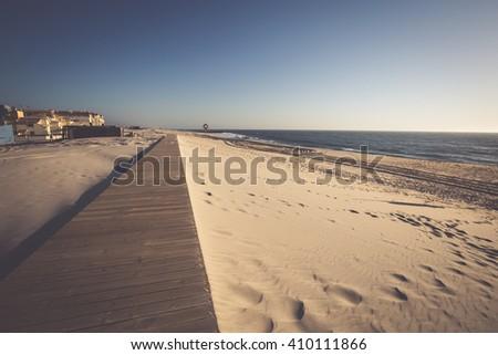 Costa Nova beach in Aveiro, Portugal - stock photo