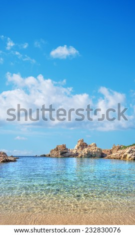 Costa Paradiso beach on a cloudy day. Processed for hdr tone mapping effect. - stock photo