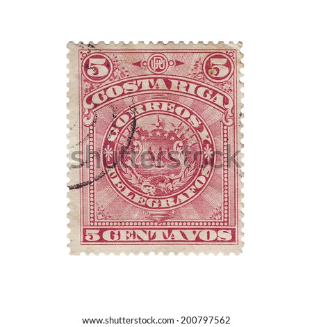 COSTA RICA - CIRCA 1892: Vintage postage stamp 5 centavo shows coat of arms Costa Rica, circa 1892
