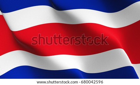 Costa Rica flag waving on wind.