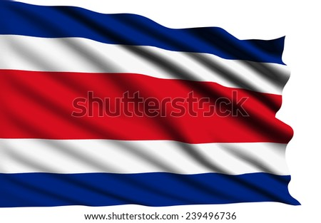 Costa Rica flag with fabric structure (clipping path)