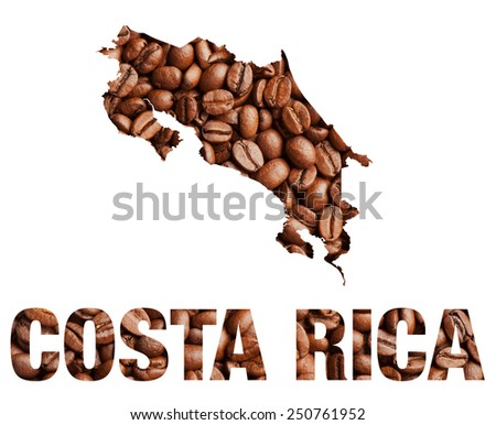Costa Rica map and word coffee beans isolated on white - stock photo