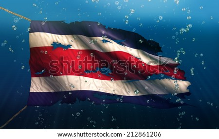 Costa Rica Under Water Sea Flag National Torn Bubble 3D - stock photo
