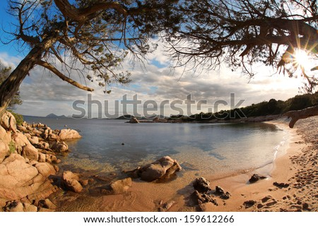 Costa Smeralda with amazing beach in Capriccioli, Sardinia - stock photo