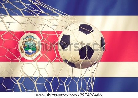 Costarica flag and soccer ball vintage color - stock photo