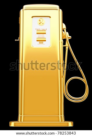 Costly fuel: golden gas pump isolated on black. Large resolution - stock photo