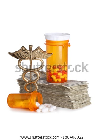 Costly healthcare concept, caduceus, money and pills cut out on white background - stock photo