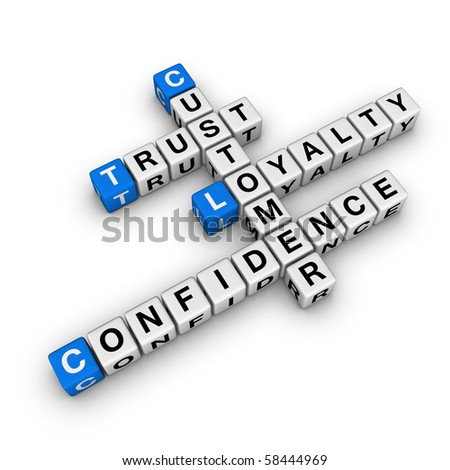 costomer loyalty  (blue-white cubes crossword series) - stock photo