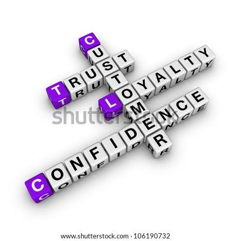 costomer loyalty  (cubes crossword series) - stock photo