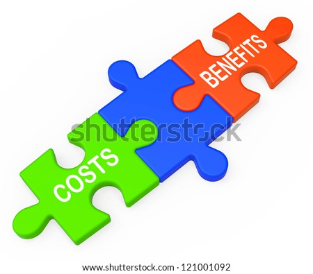 Costs Benefits Showing Analysis Value Of Investment In Business - stock photo