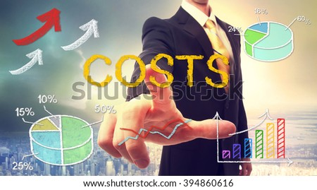 Costs concept with businessman and graphs and arrows - stock photo
