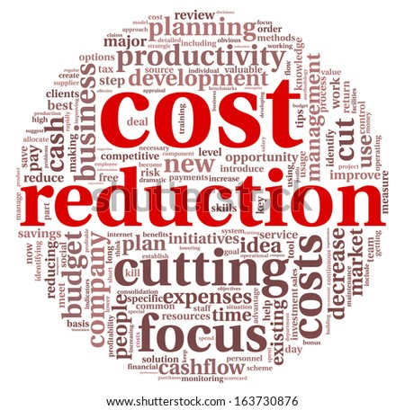 Costs reduction concept in word tag cloud - stock photo