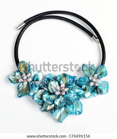 Costume jewellery isolated on white background. Pendant - stock photo