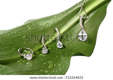 Costume jewelry on fresh green leaf with water drops isolated on white - stock photo