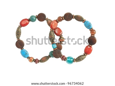 Costume Jewelry. Pair of nice vintage female bracelets on white background. Isolated with clipping path