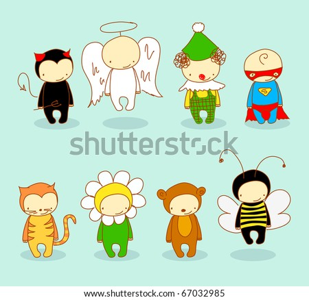 Costume party. For vector version or other costumes see my portfolio. - stock photo