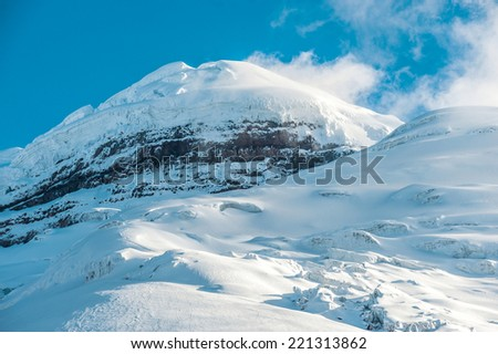 Cotopaxi the highest active volcano in the world. Andean Highlands of Ecuador, South America - stock photo