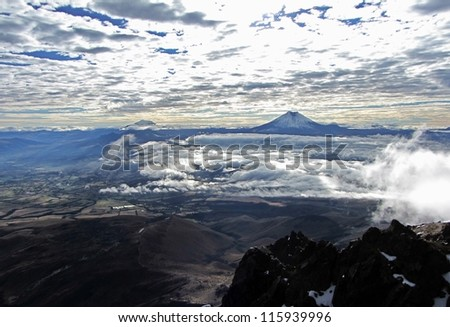 Cotopaxi, view from Illiniza Norte, Ecuador - stock photo