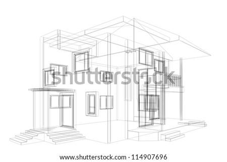 Cottage blueprint. High quality 3d render - stock photo
