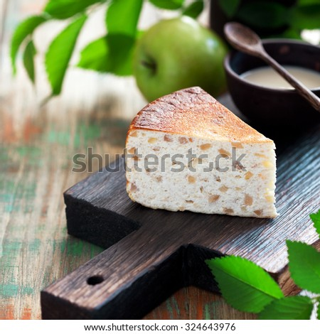 Cottage cheese and apple pie, selective focus - stock photo