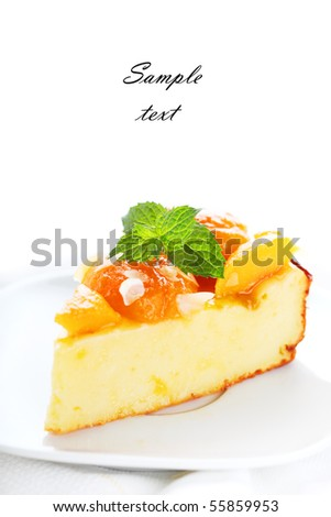 Cottage cheese and apricot cake on white isolated background - stock photo