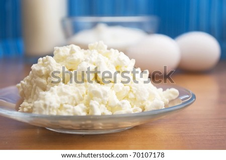 cottage cheese and eggs - stock photo