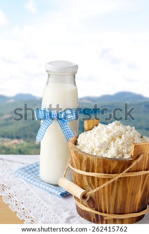 cottage cheese and milk bottle on nature background - stock photo