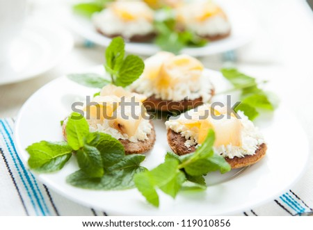 Cottage cheese and pear biscuits-fragrant dessert, close up - stock photo