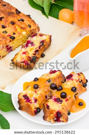 Cottage cheese casserole with apricots and black currant - stock photo