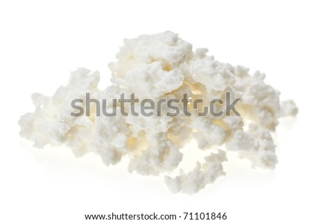 Cottage cheese (curd) heap, isolated on white - stock photo