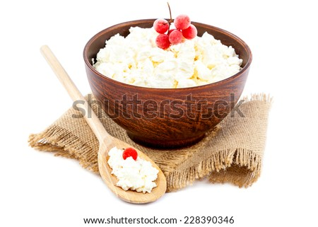 Cottage cheese in a bowl with a wooden spoon isolated on a white background. - stock photo