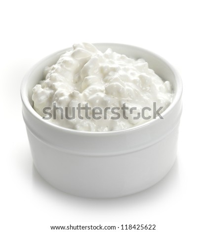 Cottage Cheese In A White Bowl - stock photo