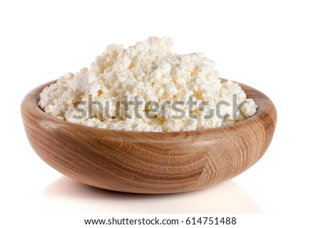 Cottage Cheese In A Wooden Bowl Isolated On White Background