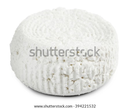 Cottage cheese, isolated on white - stock photo