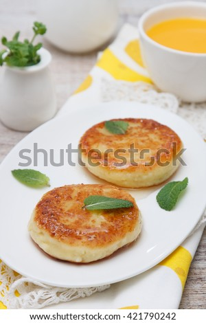 cottage cheese pancake - stock photo